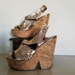 BCBGenerations platform gold cork sandals size 7